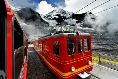 Trains in the Alps